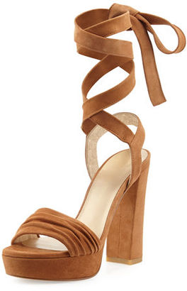 Stuart Weitzman Backagain Suede Lace-Up Sandal $455 thestylecure.com
