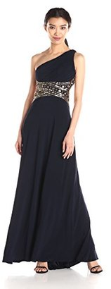 Betsy & Adam Women's One Shoulder Bead Trim Gown $219 thestylecure.com