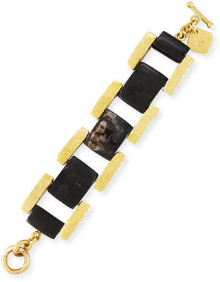 Ashley Pittman Muziki Dark Horn & Bronze Rectangular Link Bracelet