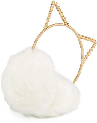 Neiman Marcus Cat Ear Crystal Earmuffs, White