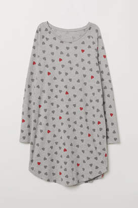 H&M Nightgown with Printed Design - Gray