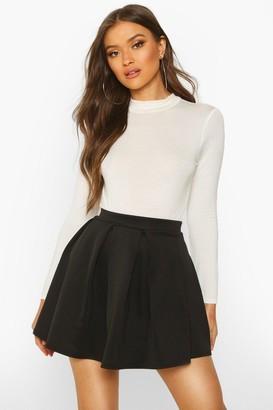 boohoo Basic Scuba Box Pleat Mini Skater Skirt