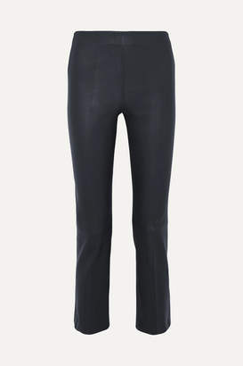 By Malene Birger Floridia Cropped Leather Slim-leg Pants - Midnight blue