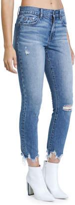 Monroe Pistola High-Rose Raw-Edge Skinny Ankle Jeans