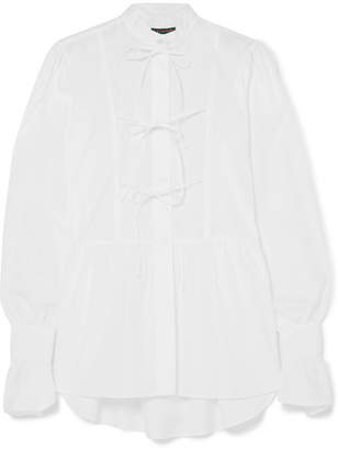 ALEXACHUNG Bow-detailed Cotton-poplin Blouse - White
