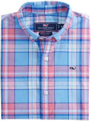 Vineyard Vines Boys Short-Sleeve Bluff House Plaid Whale Shirt