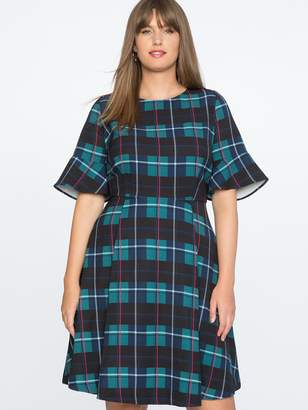Draper James for ELOQUII Plaid Print Fit and Flare Dress