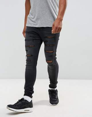 SikSilk super skinny jeans with drop crotch and distressing