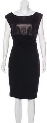 Diane von Furstenberg Leather-Paneled Shift Dress