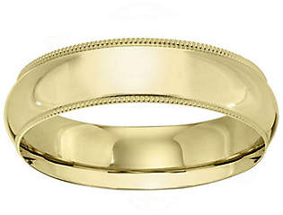 QVC Men's 18K Yellow Gold 6mm Milgrain Wedding Band