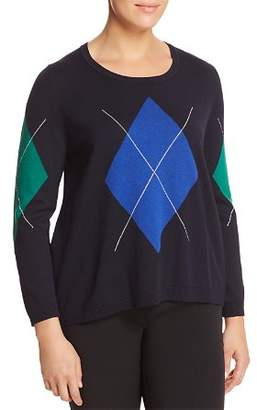 Marina Rinaldi Acrobata Argyle & Striped Back Panel Sweater