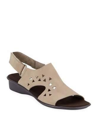 Sesto Meucci Eve Cutout Nubuck Demi-Wedge Sandals