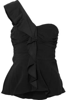 Veronica Beard Bellamy One-shoulder Ruffled Crepe Top - Black