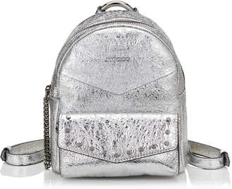 Jimmy Choo CASSIE/S Silver Crushed Metallic Leather Backpack with Round Stud Detailing
