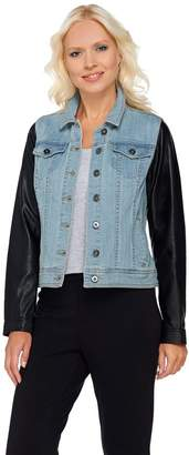 Lisa Rinna Collection Denim Jacket with Faux Leather Sleeves