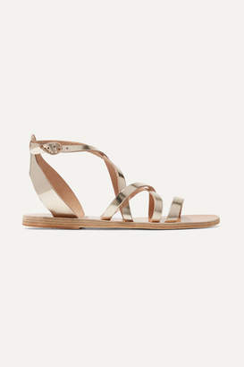 Ancient Greek Sandals Delia Metallic Leather Sandals - Platinum