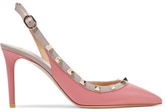 Valentino Garavani The Rockstud Leather Slingback Pumps - Pink