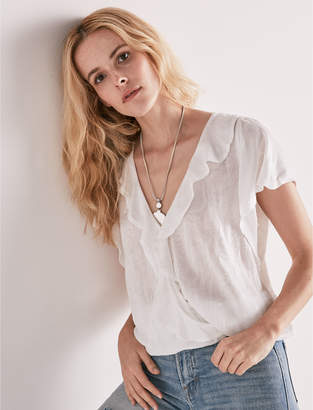 Lucky Brand WRAP SMOCKED TOP