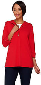 Susan Graver Dolce Knit 3/4 Sleeve Half ZipTunic w/ Hood