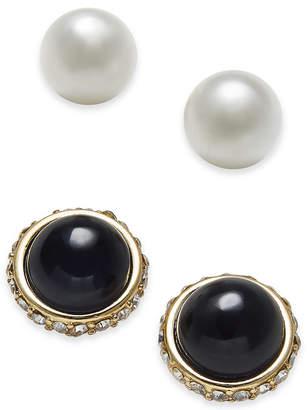Charter Club Gold-Tone 2-Pc. Set Pave & Imitation Pearl Stud Earrings