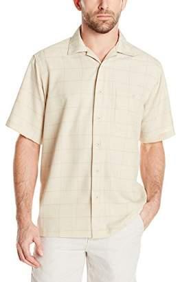 Haggar Men's Short-Sleeve Textured Microfiber Woven Shirt