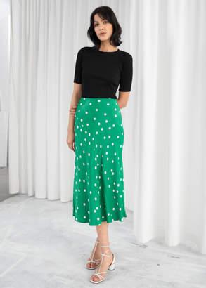 And other stories Polka Dot Satin Midi Skirt
