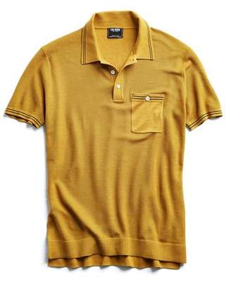 Todd Snyder Tipped Cotton Silk Micro Mesh Tipped Polo in Mustard