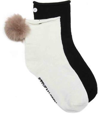 Steve Madden Faux Fur Pom Ankle Socks - 2 Pack - Women's