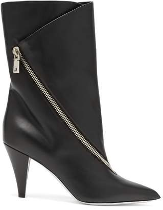 Givenchy Point Toe Leather Ankle Boots - Womens - Black