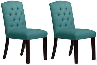 One Kings Lane Lea Teal Linen Tufted Side Chairs - Set of 2