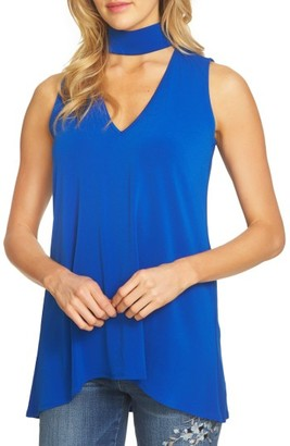 Women's Cece Mock Choker V-Neck Top $59 thestylecure.com