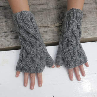 Aura Que Fairtrade Handknit Wool Fleece Lined Wristwarmer Gloves