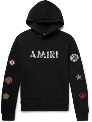 Amiri Logo-Print Appliquéd Fleeceback Cotton-Jersey Hoodie