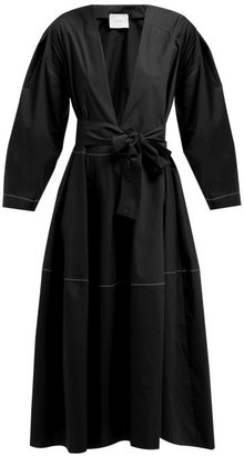 Marios Schwab On The Island By Fornells Tiered Cotton Dress - Womens - Black