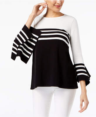 Alfani Striped Bell-Sleeve Sweater