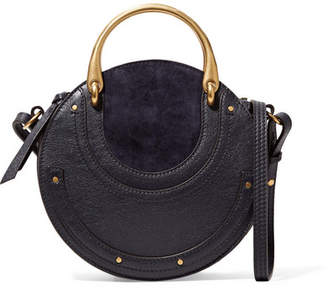 Chloé Pixie Small Suede And Textured-leather Shoulder Bag - Midnight blue