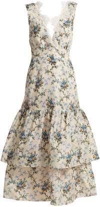 Brock Collection Lace-detail floral-print dress