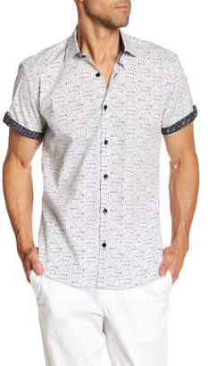 Jared Lang Line & Dot Print Short Sleeve Regular Fit Shirt