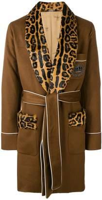 Dolce & Gabbana leopard print panel robe coat