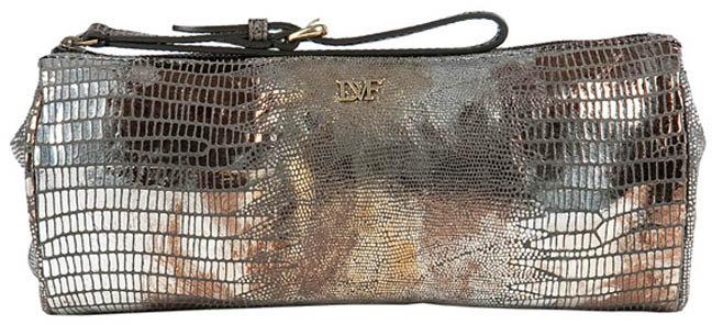 Diane von Fürstenberg Gold/Brown Metallic Wristlet Bag