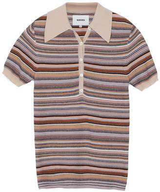 Nanushka Multi Cotton Knit Polo Quinoa Shirt - M - Orange/Brown/Black