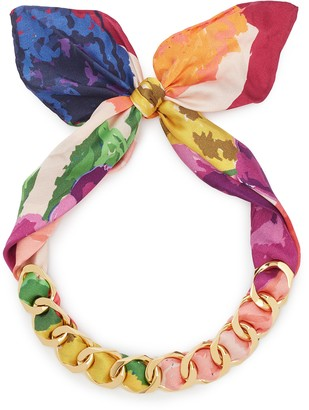 W.Britt Curb chain floral print scarf tie necklace