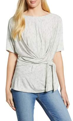 Gibson Slim Stripe Faux Wrap Top
