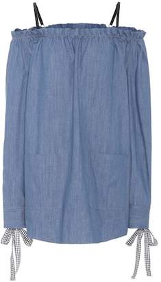 Miu Miu Denim off-the-shoulder dress