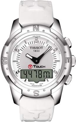 Tissot Women's T-Touch II Titanium Lady Leather Strap Watch, 43.3mm