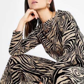 d72704700f River Island Womens Petite Beige zebra print plisse top