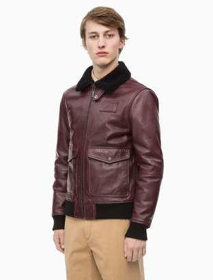 Calvin Klein shearling leather aviator Jacket