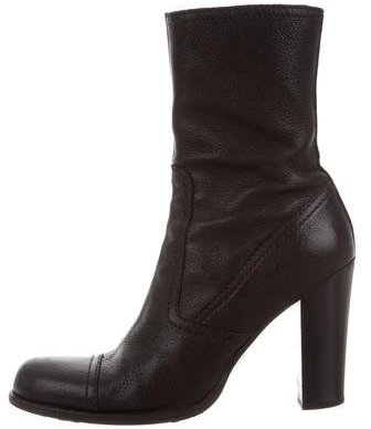pradaPrada Leather Round-Toe Ankle Boots