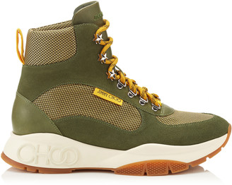 Jimmy Choo INCA/M Army Mix Technical Mesh and Leather Mix Hi Top Trainer Style Boots