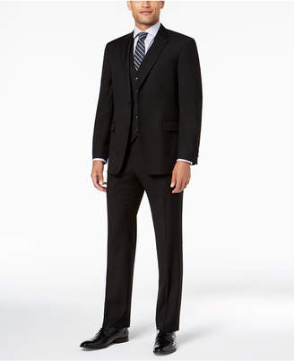 Tommy Hilfiger Men Modern-Fit THFlex Stretch Black Twill Vested Suit